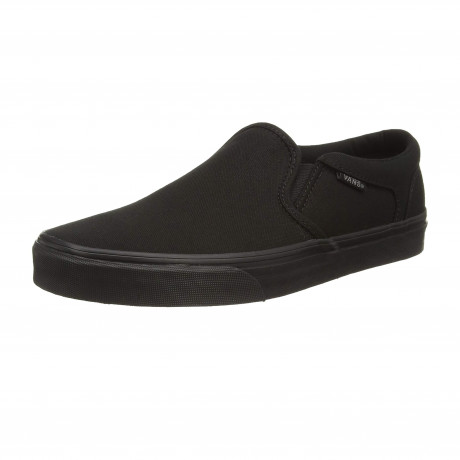 Vans Mens Asher Canvas Slip On Shoes Trainers Black | Jean Scene
