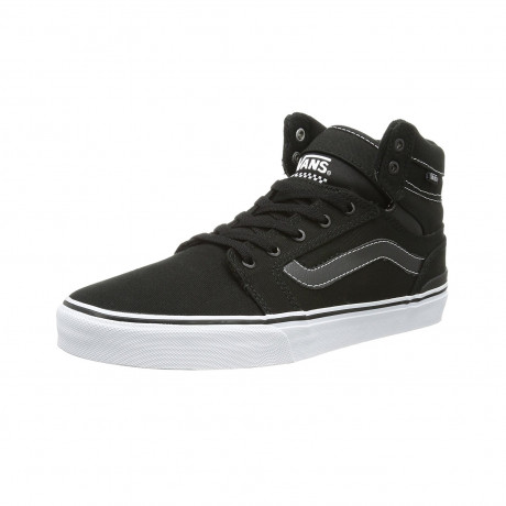 Vans Men's Sanction Mid Stripe Canvas Shoes Trainers Black White | Jean Scene