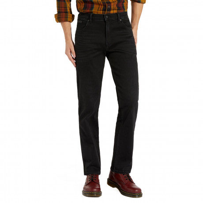 Wrangler Texas Stretch Brushed Denim Jeans One-Eyed Black | Men's Wrangler Jeans | Jean Scene