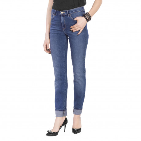 Wrangler High Slim Women's Slim Stretch Jeans Authentic Blue | Jean Scene