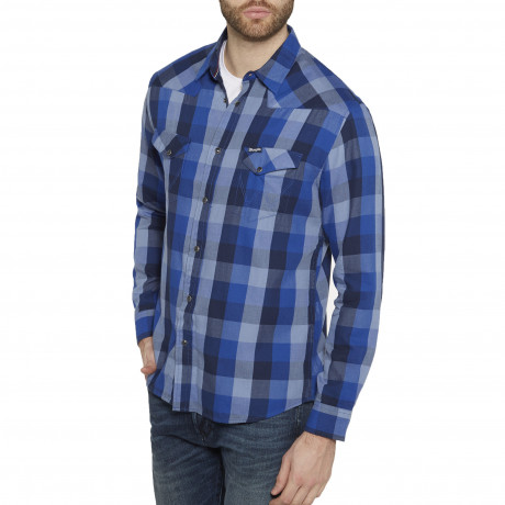 Wrangler Western Men's Long Sleeve Check Shirt Surf The Blue | Jean Scene