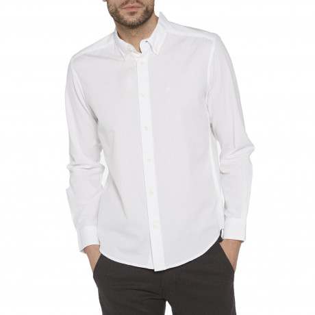 Wrangler Casual Men's Long Sleeve Oxford Shirt White | Jean Scene