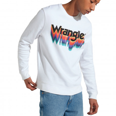 Wrangler Crew Neck Logo Sweatshirt White | Jean Scene