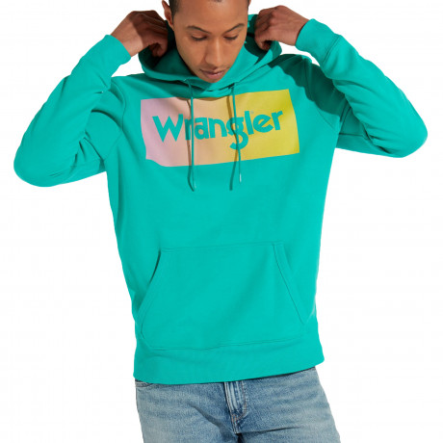 Wrangler Overhead Logo Hoodie Spectra Green | Jean Scene