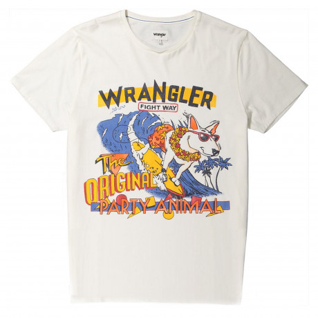 Wrangler Wave Crew Neck Logo T-shirt Off White | Jean Scene
