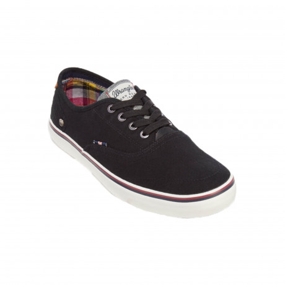 Wrangler Mens Low Canvas Legend Board Shoes Black Shoes | Jean Scene