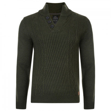 Threadbare Wray Button V Neck Wool Blend Jumper Green | Jean Scene