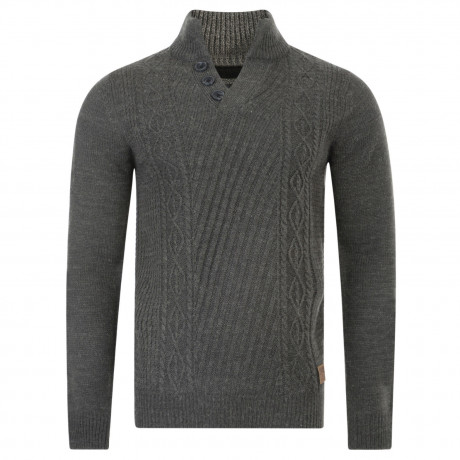 Threadbare Wray Button V Neck Wool Blend Jumper Charcoal Marl | Jean Scene