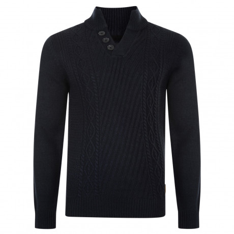 Threadbare Wray Button V Neck Wool Blend Jumper Rich Navy | Jean Scene