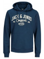 Jack & Jones Originals Diego Overhead Print Hoodie Ensign Blue