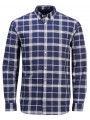 Jack & Jones Premium Frisk Check Long Sleeve Shirt Navy Blazer