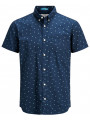 Jack & Jones Originals Cambridge Pattern Short Sleeve Shirt Dark Denim