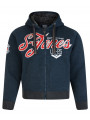 Smith & Jones Borovet Faux Fur Hoodie Navy Marl Blue