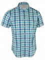 Esprit Regular Fit Short Sleeve Check Shirt Blue