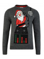Novelty Christmas Jumper Crew Neck DJ Santa Charcoal