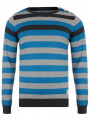 Crosshatch Crew Neck Striped Knit Jumper Feda Blue