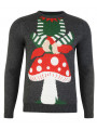 Novelty Christmas Jumper Crew Neck Santas Helper Charcoal
