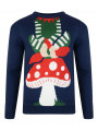 Novelty Christmas Jumper Crew Neck Santas Helper Navy Blue