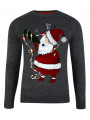 Light Up Novelty Christmas Jumper Crew Neck LED Drunk Giddy Santa Grey