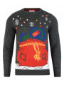Light Up Novelty Christmas Jumper Crew Neck LED Presents In Sack Grey