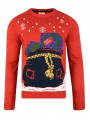 Light Up Novelty Christmas Jumper Crew Neck LED Presents In Sack Red
