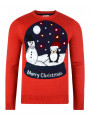Light Up Novelty Christmas Jumper Crew Neck LED Snow Globe Red