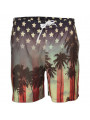 Soul Star Swim Beach Shorts Sunset Strip American Flag Print