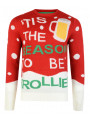 Novelty Christmas Jumper Crew Neck Season to be Trollied Beer Red