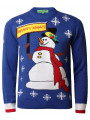 Novelty Christmas Jumper Crew Neck Snowman Dark Royal Blue