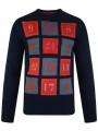 3D Novelty Christmas Jumper Crew Neck Advent Calendar Navy Blue