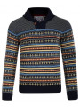 Soul Star Nordic Norwegian Shawl Neck Knitted Jumper Navy Blue