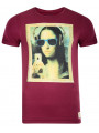 Blend Crew Neck Mona Lisa Grafty Print T-shirt Burgundy
