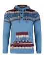 Rock & Revival Fair Isle Hooded Knit Jumper Dutch Blue
