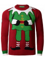 Novelty Christmas Jumper Crew Neck Elf Dark Red
