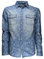 Soul Star Vintage Retro Floral Fashion Shirt Light Blue