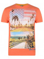 Soul Star Crew Neck Print T-shirt Orange California The Golden State