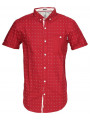 Soul Star Poker Dott Cotton Shirt Short Sleeve Burgundy Red