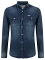 Soul Star Vintage Faded Fashion Denim Shirt Slim Fit Blue Blast