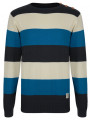 Crosshatch Crew Neck Striped Knit Jumper Blue