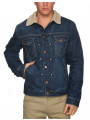 Wrangler Sherpa Fur Denim Trucker Jacket Stonewash