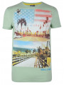 Soul Star Crew Neck Print T-shirt Green California The Golden State