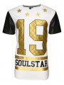 Soul Star Long Length Crew Neck Print T-shirt White
