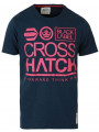 Crosshatch Crew Neck Print T-shirt Navy Blue