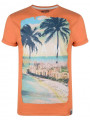 Soul Star Crew Neck Print T-shirt Miami South Beach Florida Orange
