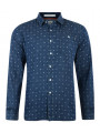 Crosshatch Printed Long Sleeve Shirt Blue