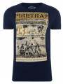 Firetrap Crew Neck Route 66 Print T-shirt Navy Blue