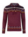 Rock & Revival Fair Isle Hooded Knit Jumper Burgundy