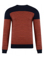Blend Crew Neck Knit Pullover Navy Orange