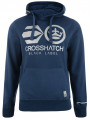 Crosshatch Reflective Logo Hoodie Navy Blue