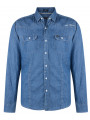 Firetrap Denim Shirt Long Sleeve Light Indigo Blue Garrick